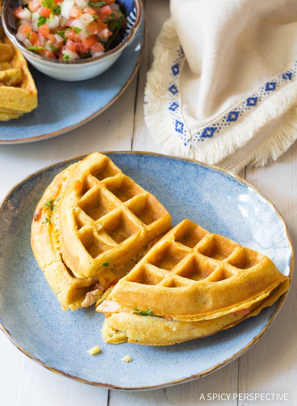 Easy Waffle Iron Quesadillas Recipe #ASpicyPerspective #onepot