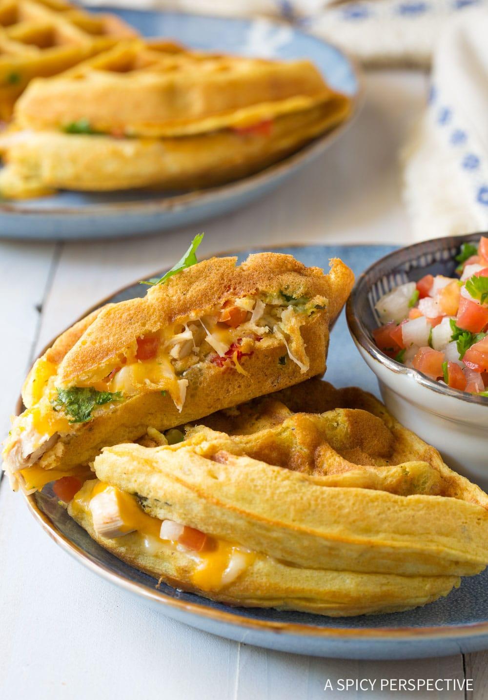One-Pan Waffle Iron Quesadillas Recipe #ASpicyPerspective #onepot