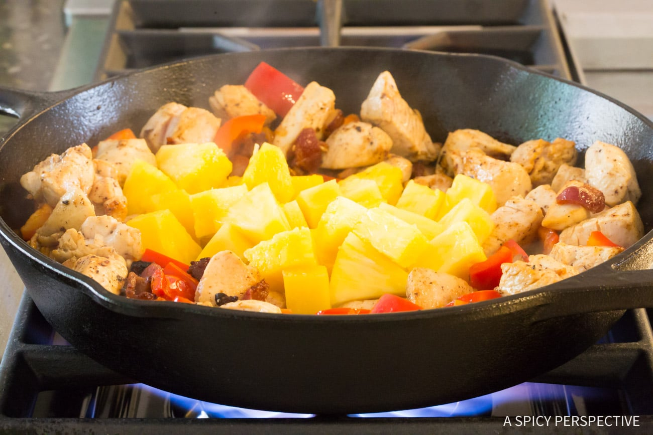 Pineapple and Bell Peppers #ASpicyPerspective #HawaiianBBQ #HawaiianChicken #HawaiianChickenRecipe #HawaiianBBQChicken #Hawaiian #Chicken #SkilletChicken #Dinner