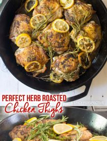 Perfect Herb Roasted Chicken Thighs Recipe #ASpicyPerspective #Paleo #Ketogenic #Keto #GlutenFree