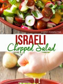 Vibrant Chopped Israeli Salad with Lemon Vinaigrette Recipe #LowCarb #GlutenFree & #Vegan