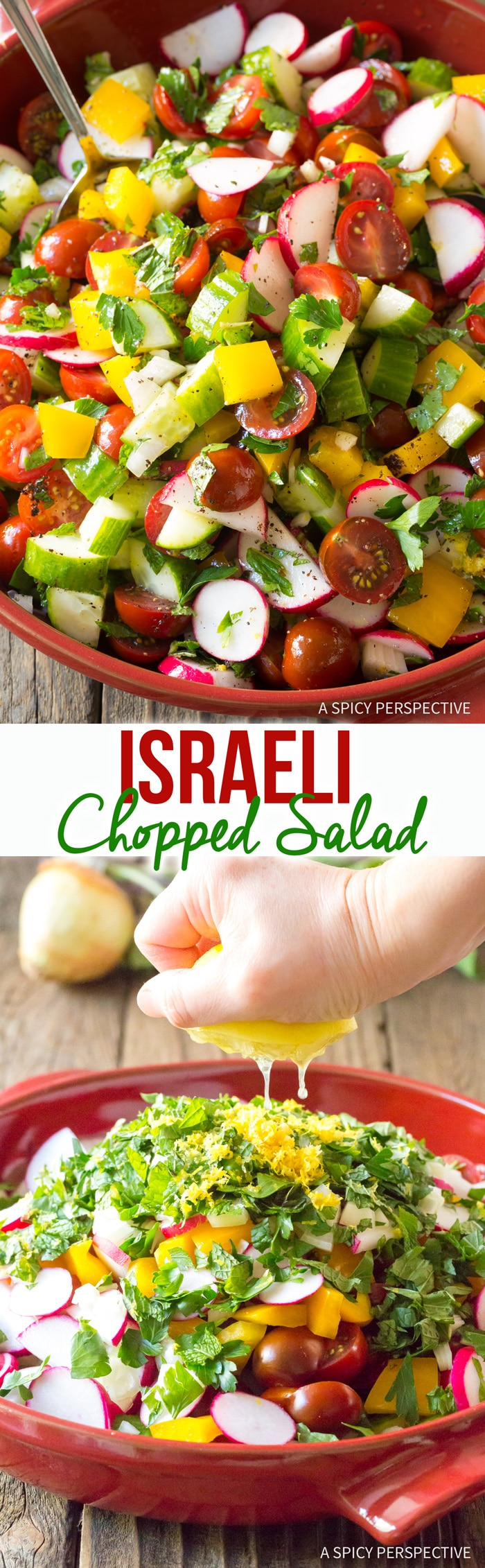 Vibrant Chopped Israeli Salad with Lemon Vinaigrette Recipe #LowCarb #GlutenFree & #Vegan