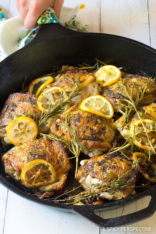 Restaurant-Style Perfect Herb Roasted Chicken Thighs Recipe #ASpicyPerspective #Paleo #Ketogenic #Keto #GlutenFree