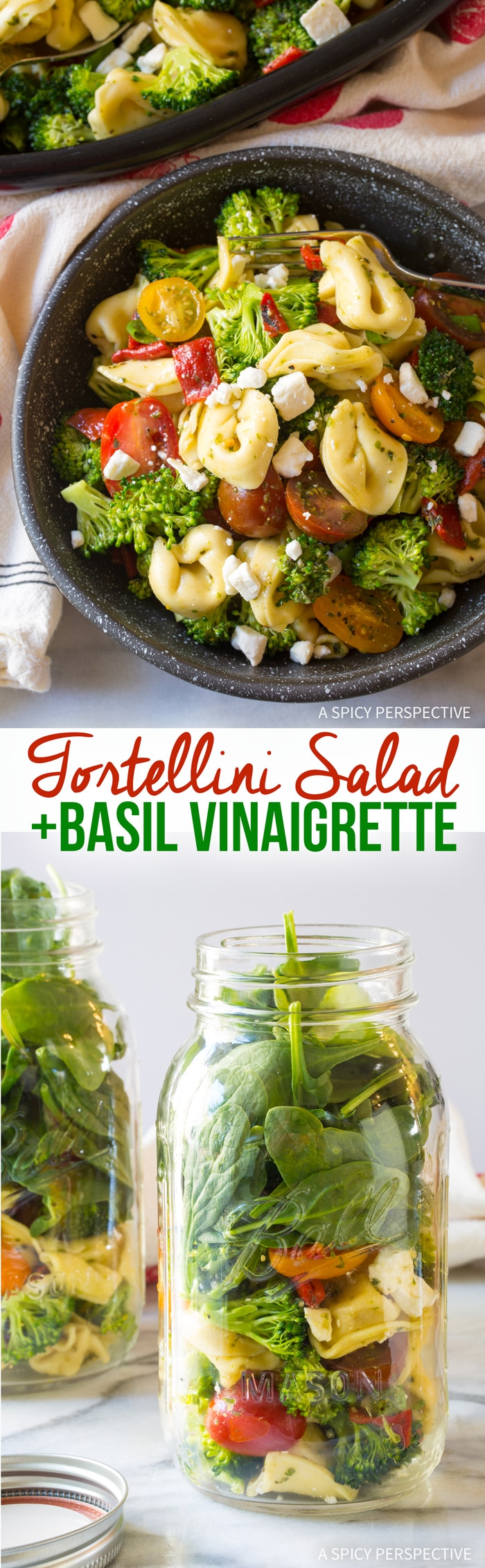Cold Tortellini Salad with Basil Vinaigrette Recipe