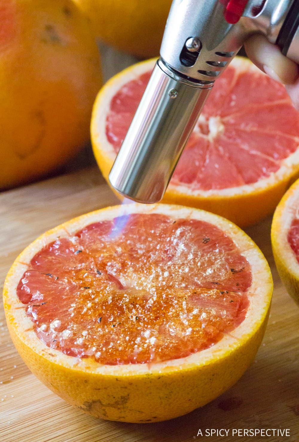 Torch: Bruleed Grapefruit (Pamplemousse Brûlé) Recipe #ASpicyPerspective #vegan #vegetarian #healthy