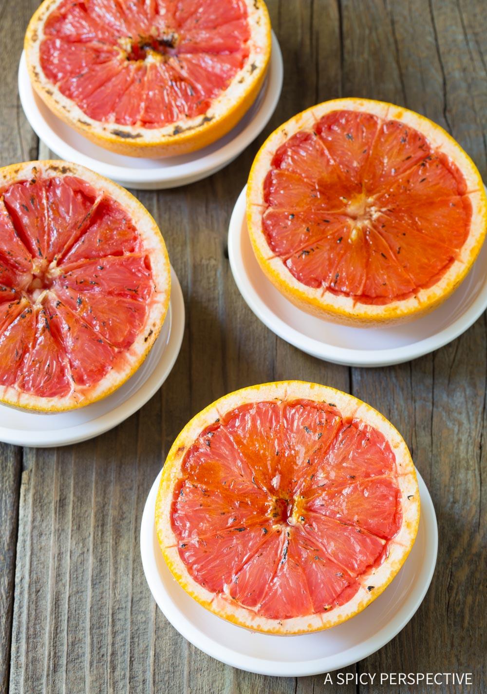 Easy Bruleed Grapefruit (Pamplemousse Brûlé) Recipe #ASpicyPerspective #vegan #vegetarian #healthy