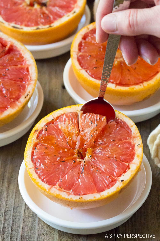 Simple Bruleed Grapefruit (Pamplemousse Brûlé) Recipe #ASpicyPerspective #vegan #vegetarian #healthy