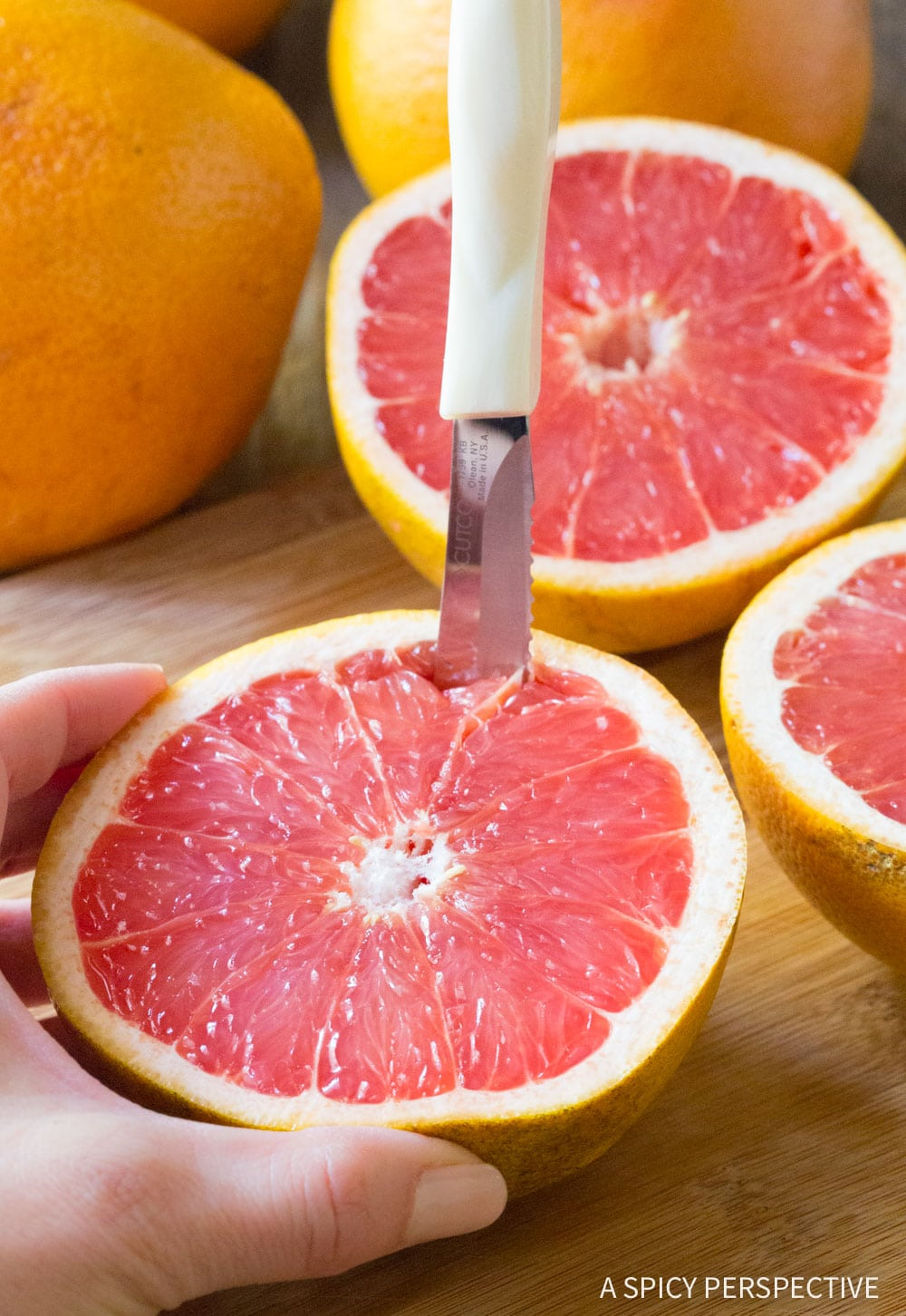 Cutting: Bruleed Grapefruit (Pamplemousse Brûlé) Recipe #ASpicyPerspective #vegan #vegetarian #healthy