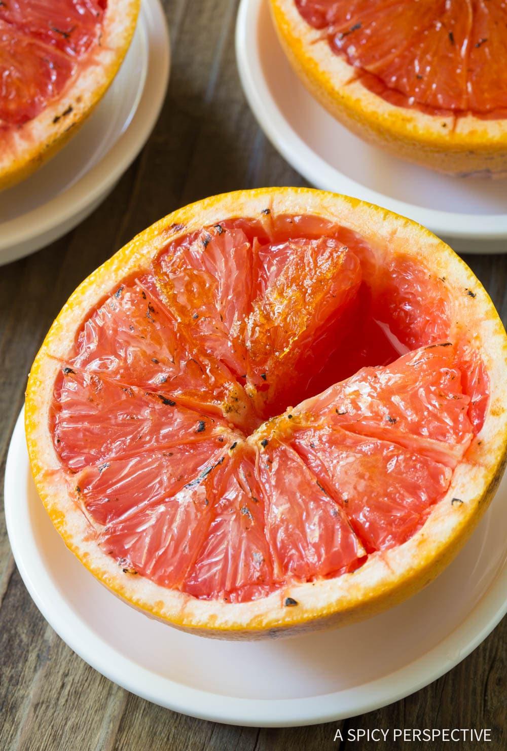 2-Ingredient Bruleed Grapefruit (Pamplemousse Brûlé) Recipe #ASpicyPerspective #vegan #vegetarian #healthy