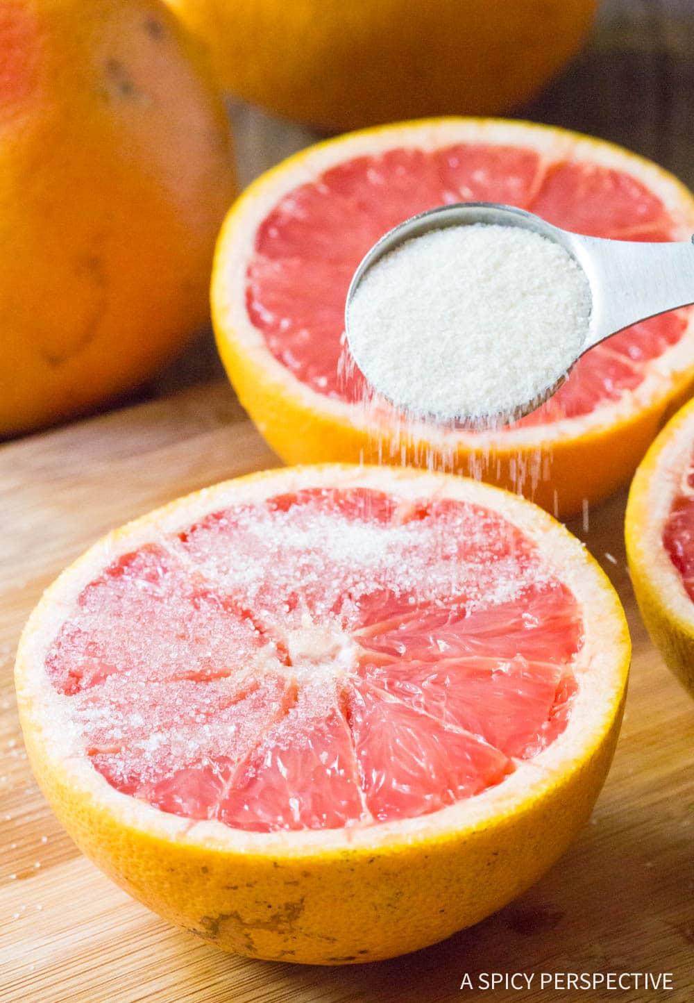 Sprinkle: Bruleed Grapefruit (Pamplemousse Brûlé) Recipe #ASpicyPerspective #vegan #vegetarian #healthy