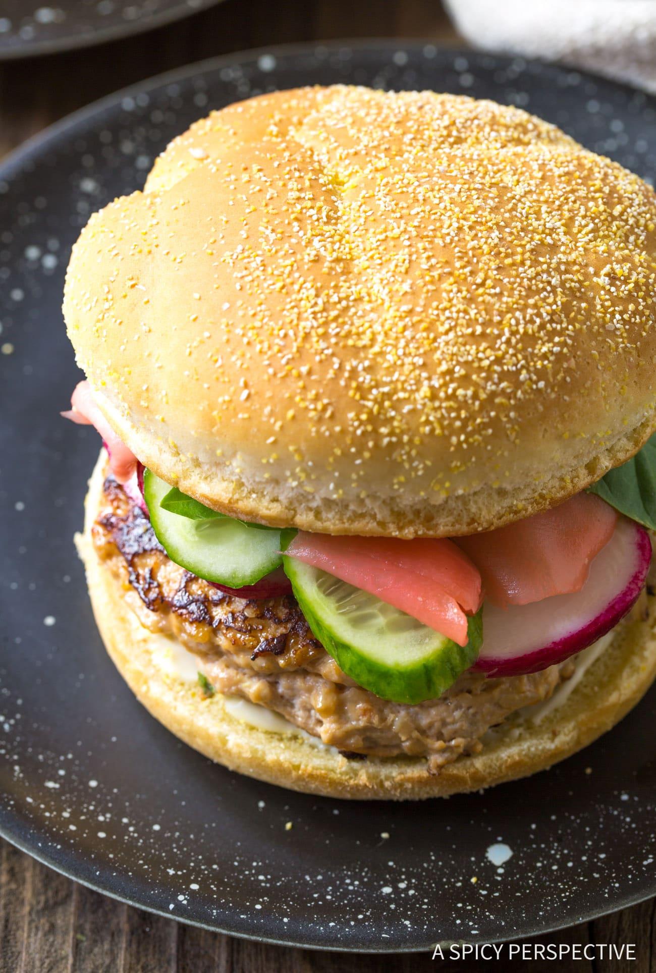 Skinny Sesame Chicken Burgers Recipe (Skinny Hamburgers)