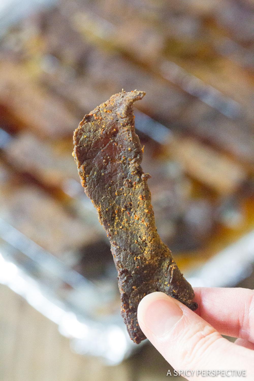 Best Homemade Oven Beef Jerky #Keto #Paleo #ASpicyPerspective