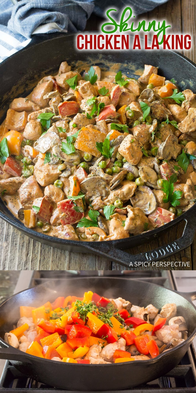 SKINNY Chicken A La King Recipe #ASpicyPerspective #lowcarb