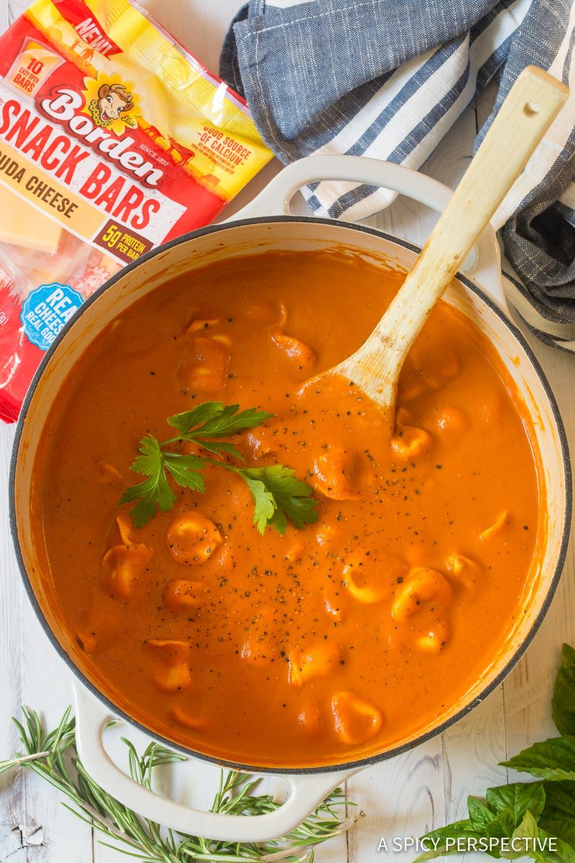 Perfect Creamy Tomato Tortellini Soup Recipe #ASpicyPerspective