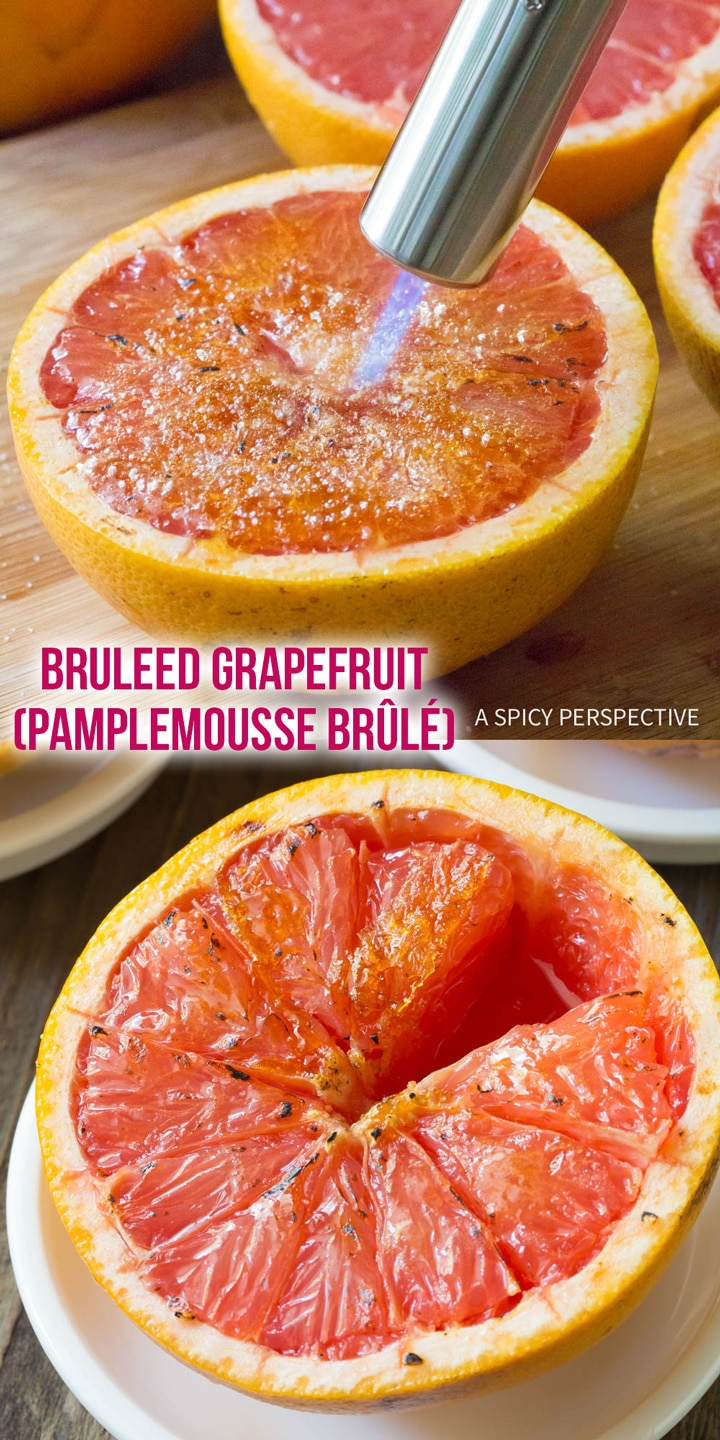 Quick Bruleed Grapefruit (Pamplemousse Brûlé) Recipe #ASpicyPerspective #vegan #vegetarian #healthy