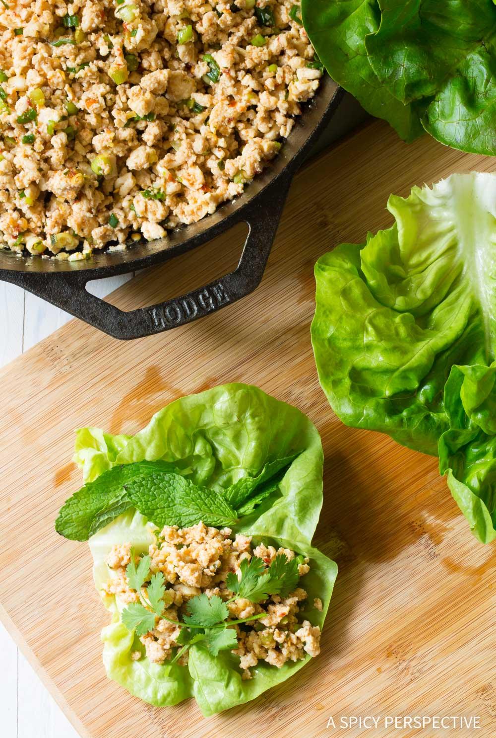 Easy Keto Thai Larb Rolls Recipe #ASpicyPerspective #ketogenic #paleo