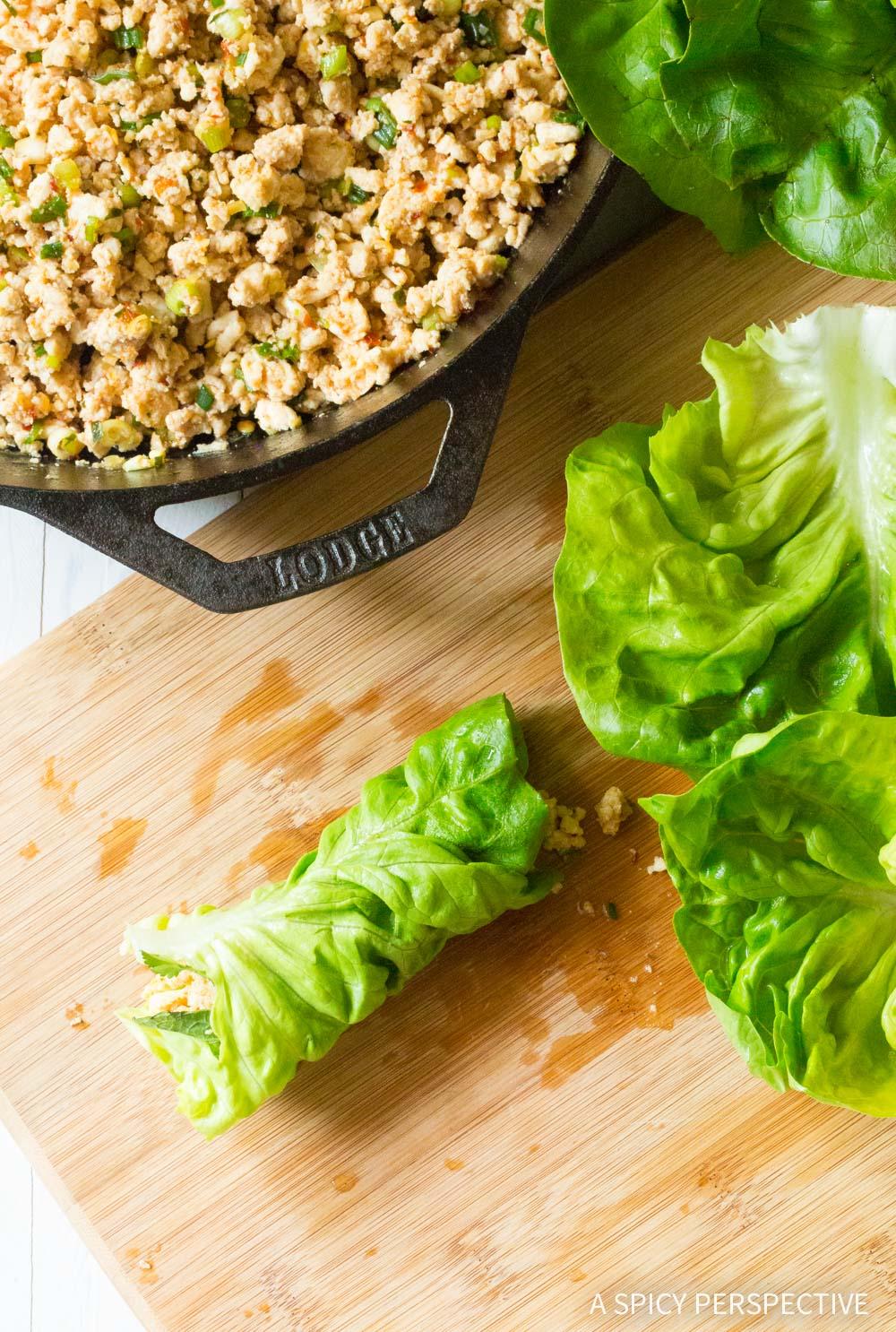 Healthy Keto Thai Larb Rolls Recipe #ASpicyPerspective #ketogenic #paleo