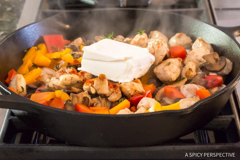 Low Carb Skinny Chicken A La King Recipe #ASpicyPerspective #lowcarb #retro #vintage