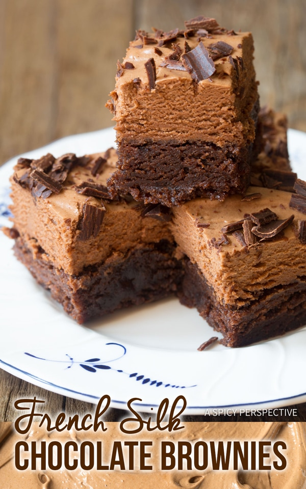 Fluffy French Silk Chocolate Brownies Recipe #ASpicyPerspective