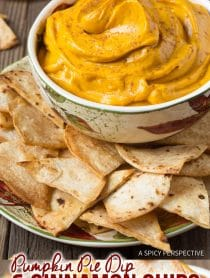Creamy Pumpkin Pie Dip with Cinnamon Chips Recipe #ASpicyPerspective #Halloween #Thanksgiving