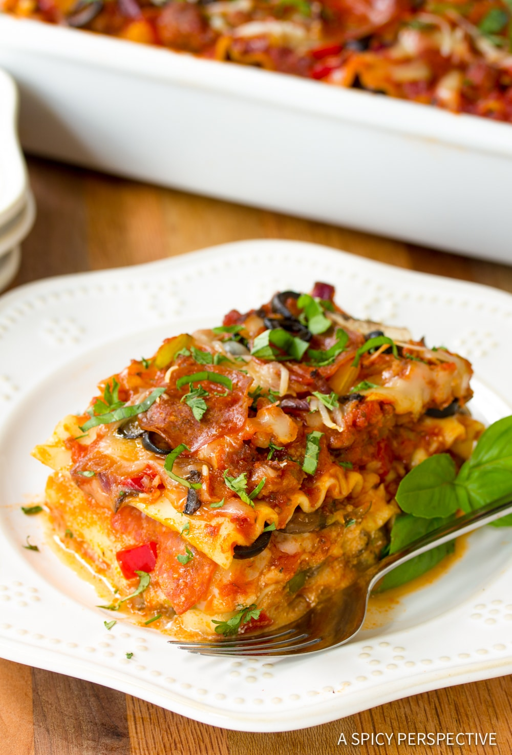 Perfect Supreme Pizza Lasagna Recipe #ASpicyPerspective