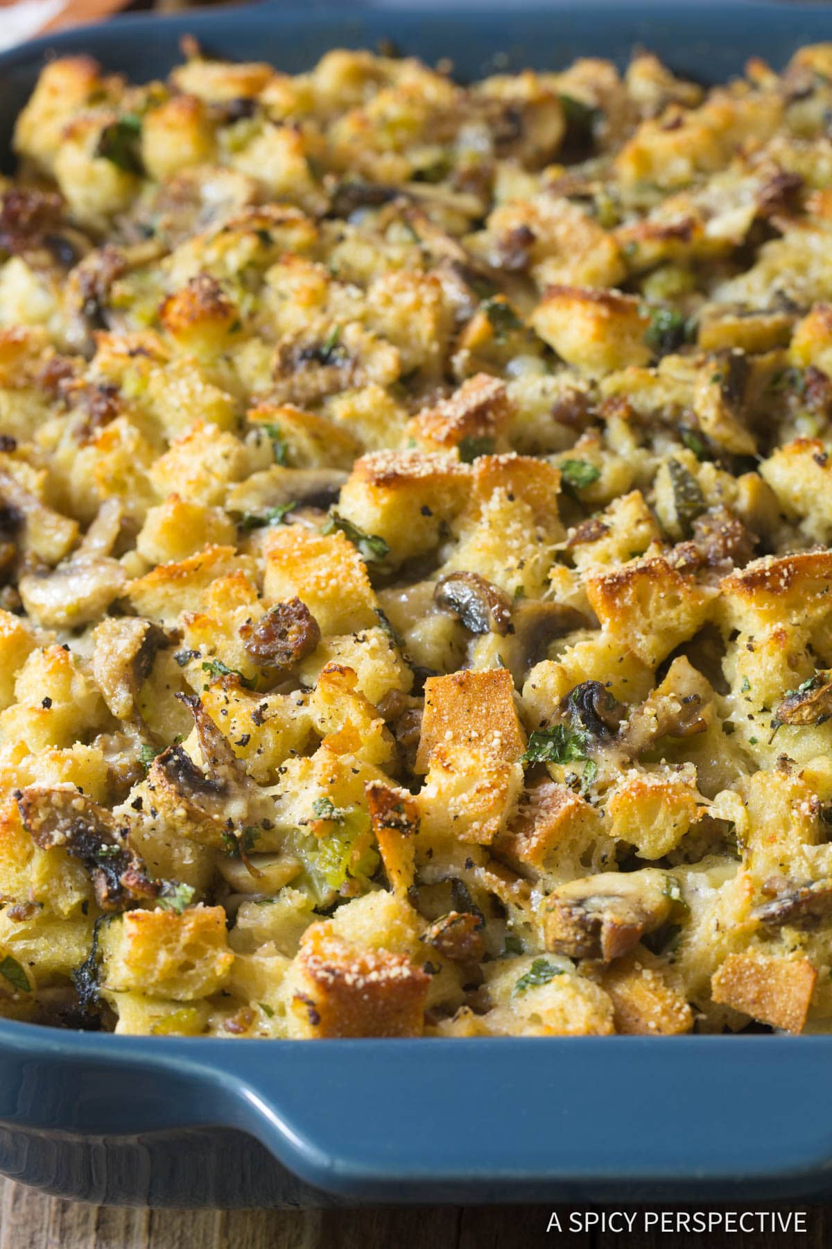 The BEST Sausage Mushroom Thanksgiving Stuffing Recipe #ASpicyPerspective #holiday #dressing