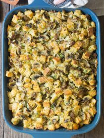 Perfect Sausage Mushroom Thanksgiving Stuffing Recipe #ASpicyPerspective #holiday #dressing