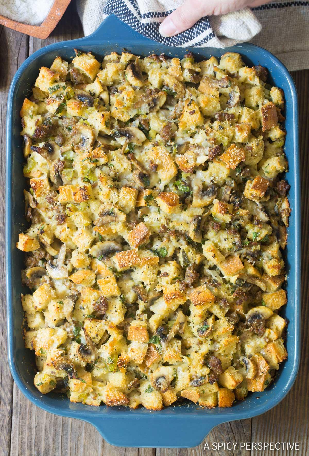 Perfect Sausage Mushroom Thanksgiving Stuffing Recipe #ASpicyPerspective #holiday #dressing