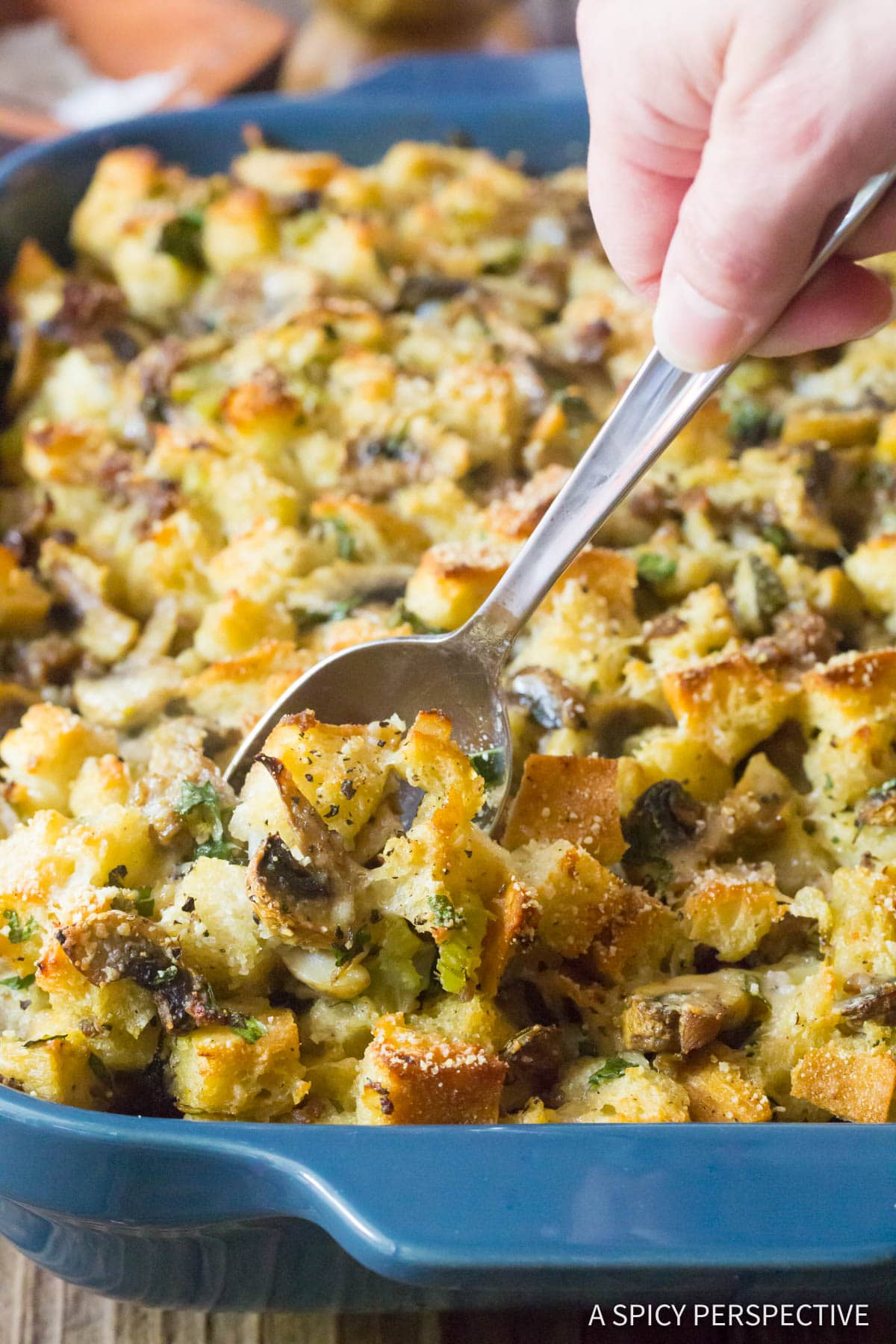 Sausage Mushroom Thanksgiving Stuffing Recipe #ASpicyPerspective #holiday