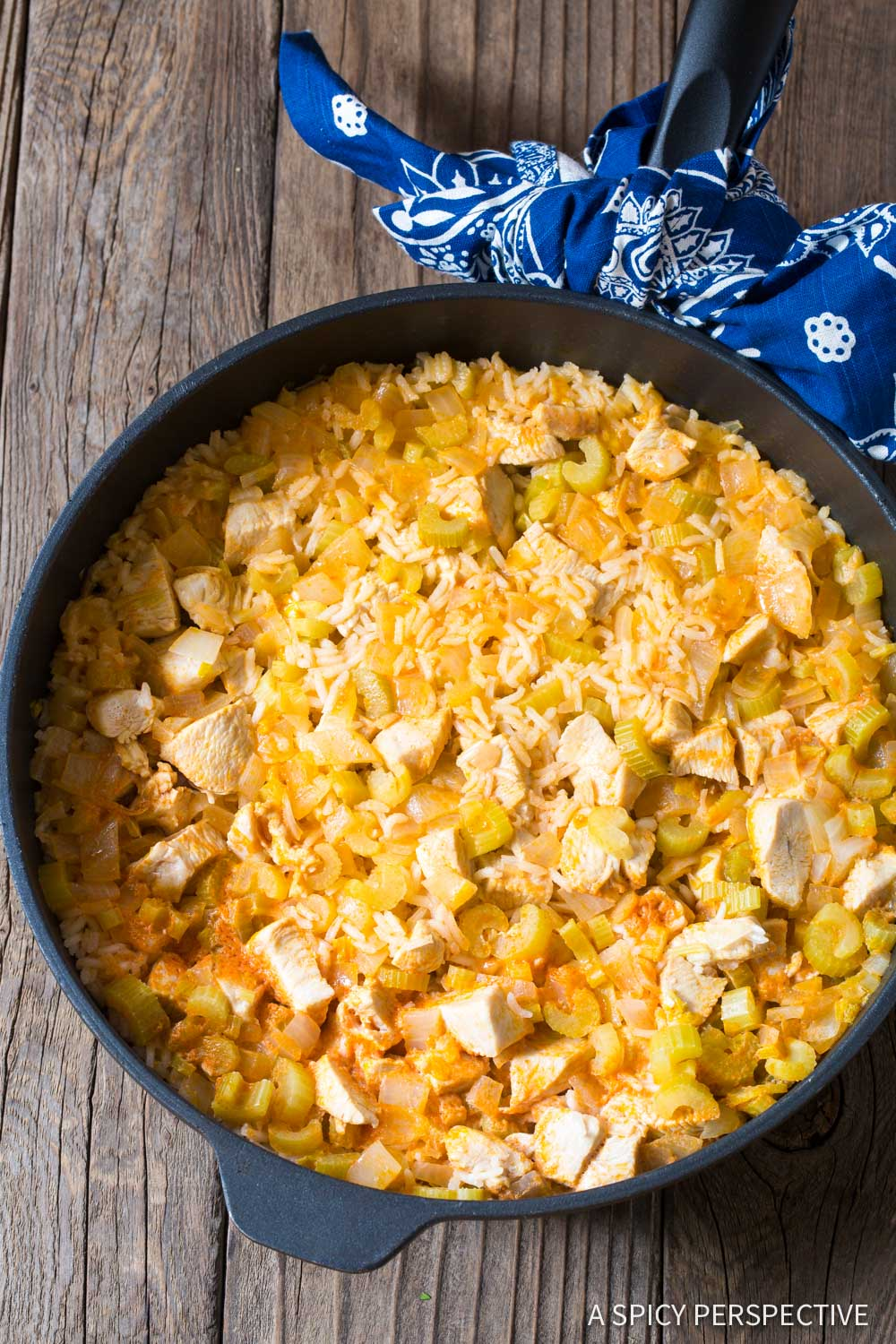 How to Make One Pan Buffalo Chicken and Rice Skillet Recipe #ASpicyPerspective
