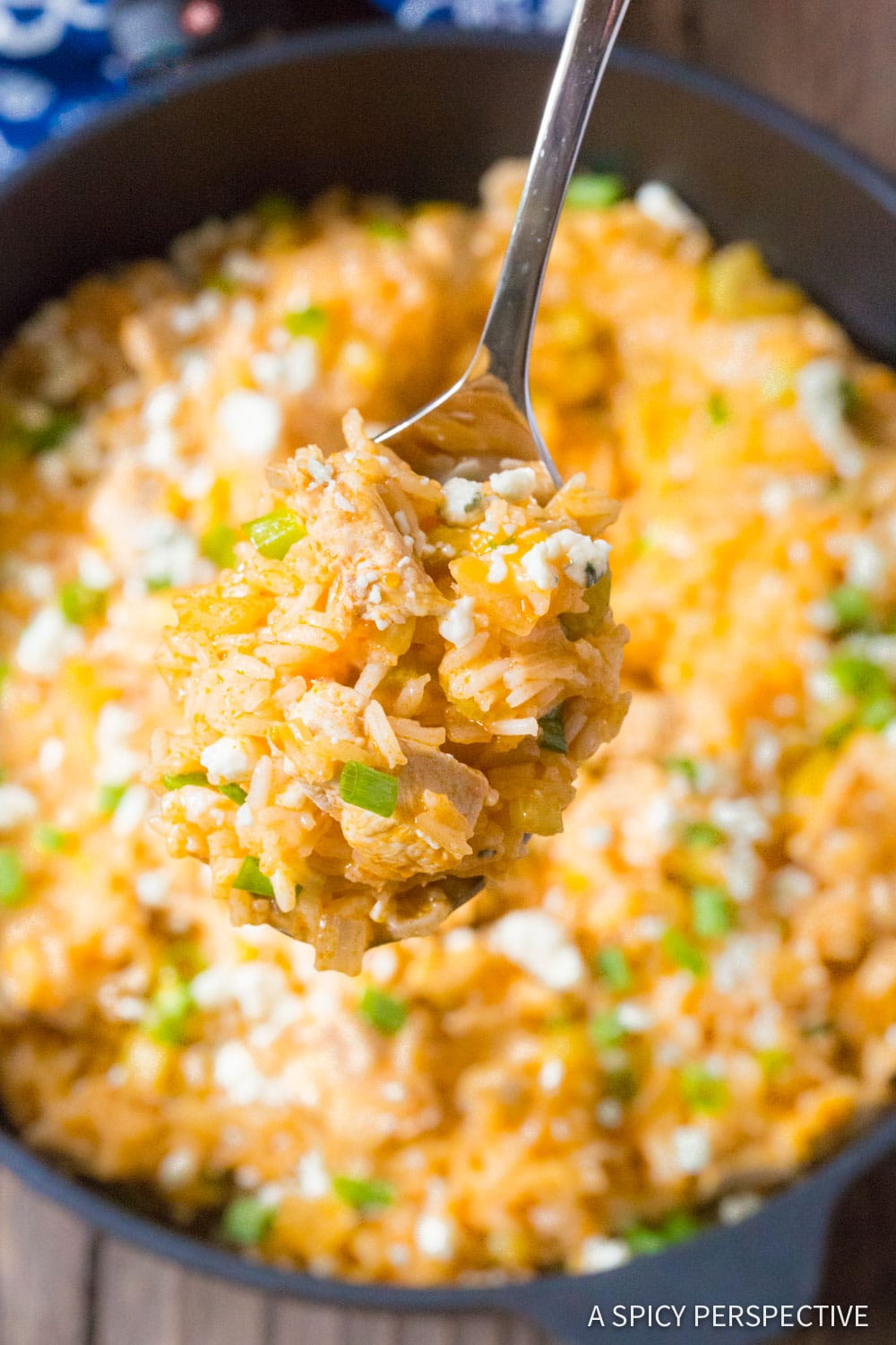 Best One Pan Buffalo Chicken and Rice Skillet Recipe #ASpicyPerspective