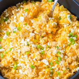 Zesty One Pan Buffalo Chicken and Rice Skillet Recipe #ASpicyPerspective