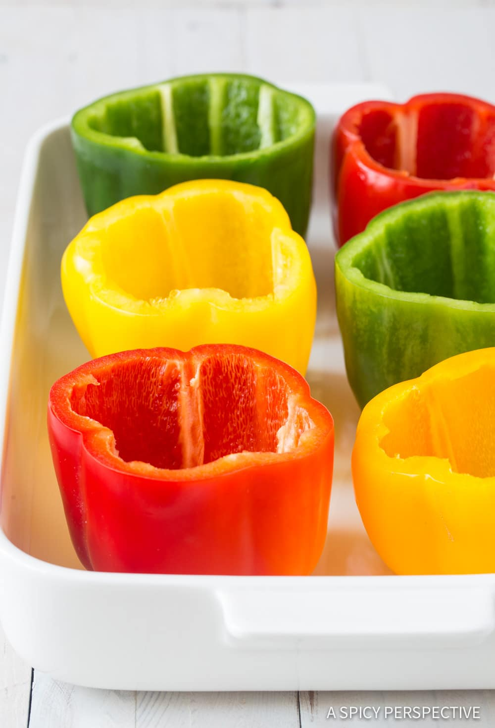 Making Chicken Pot Pie Stuffed Peppers Recipe #ASpicyPerspective