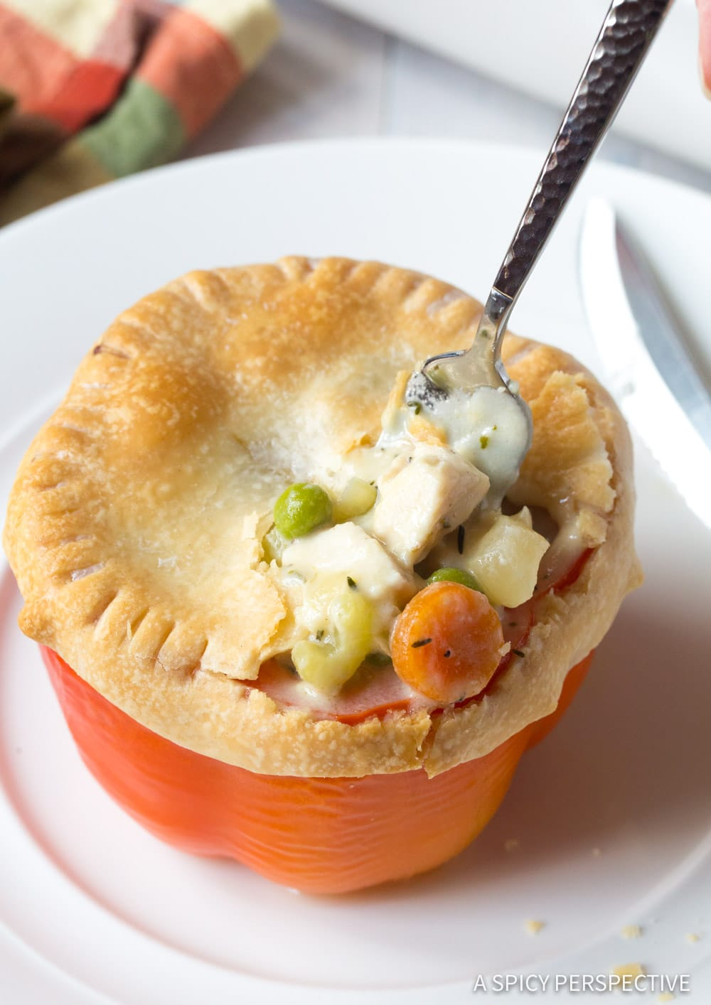 Perfect Chicken Pot Pie Stuffed Peppers Recipe #ASpicyPerspective