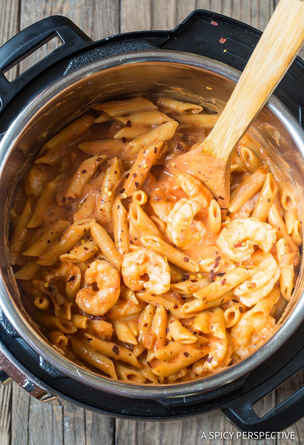instant pot shrimp pasta with vodka sauce video  a