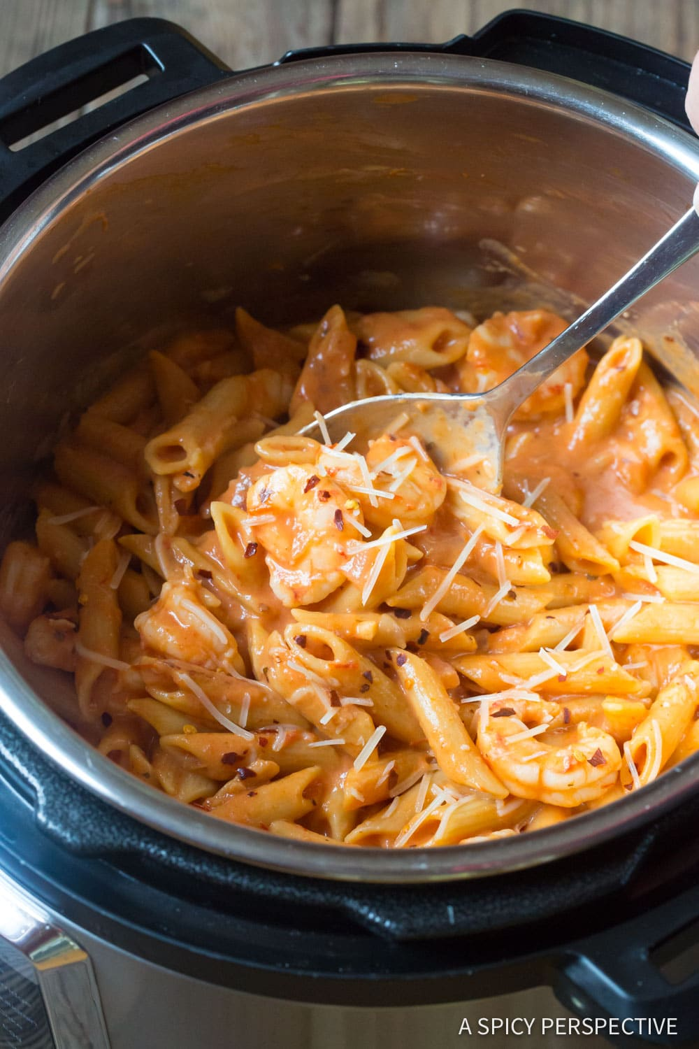 Perfect Instant Pot Shrimp Pasta with Vodka Sauce Recipe #ASpicyPerspective
