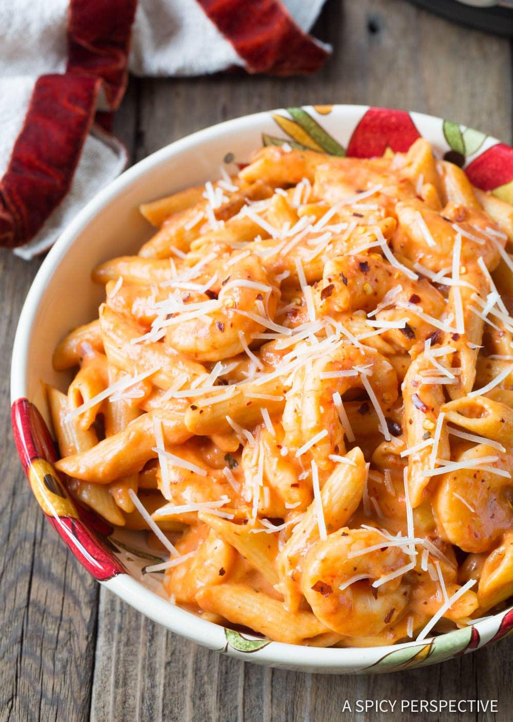 Best Instant Pot Shrimp Pasta with Vodka Sauce Recipe #ASpicyPerspective