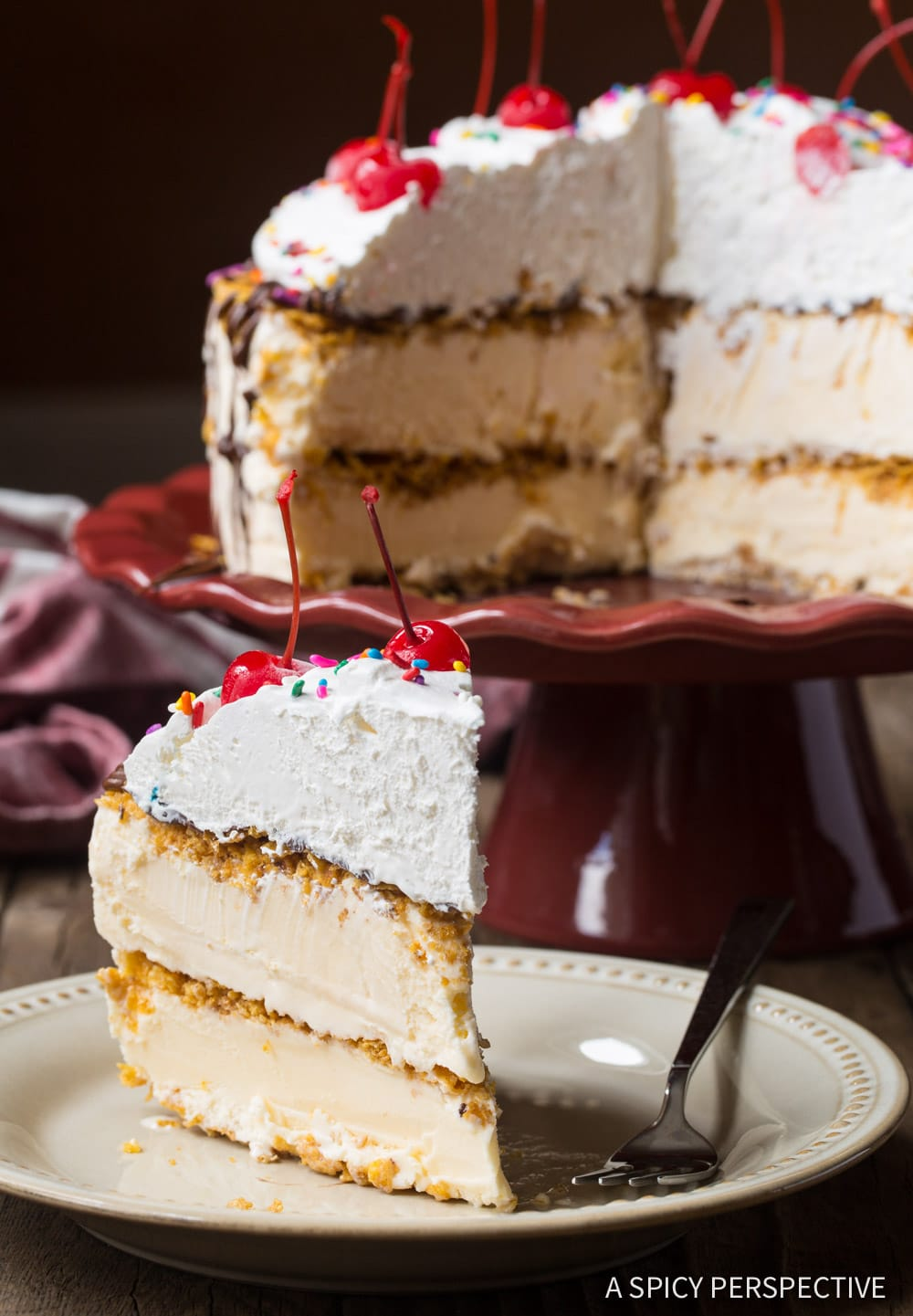 Decadent Mexican Fried Ice Cream Cake Recipe #ASpicyPerspective