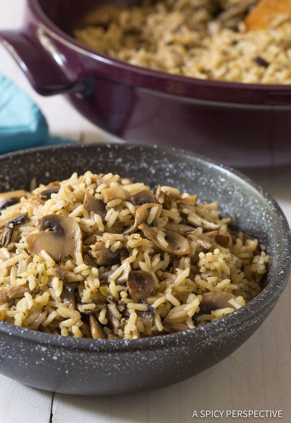 Rustic Mushroom Rice Pilaf Recipe #ASpicyPerspective