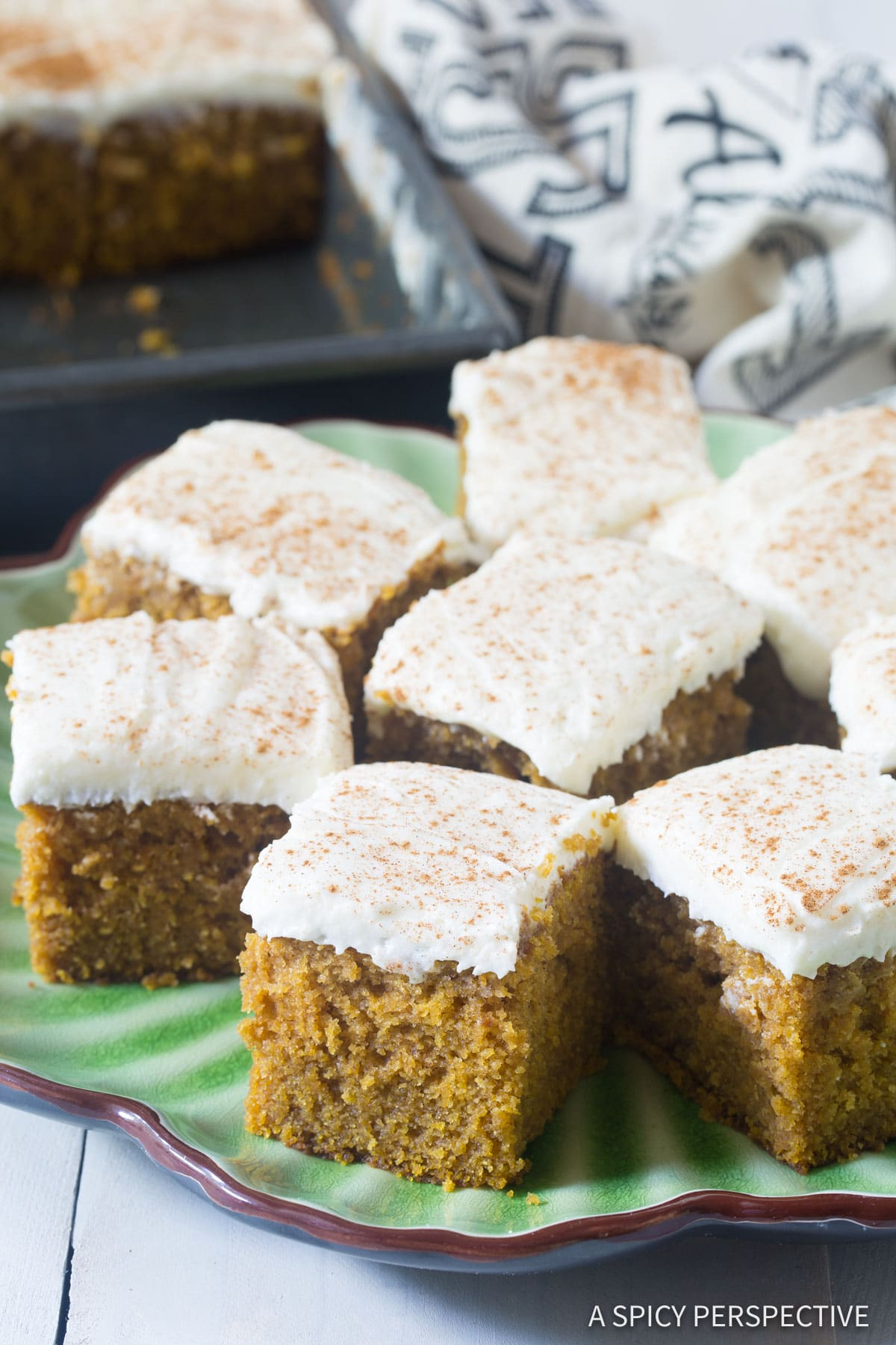 Easy Pumpkin Texas Sheet Cake with Buttermilk Frosting Recipe #ASpicyPerspective