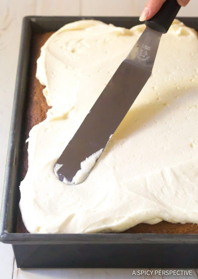 Moist Pumpkin Texas Sheet Cake with Buttermilk Frosting Recipe #ASpicyPerspective
