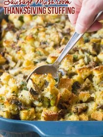 Sausage Mushroom Thanksgiving Stuffing Recipe #ASpicyPerspective