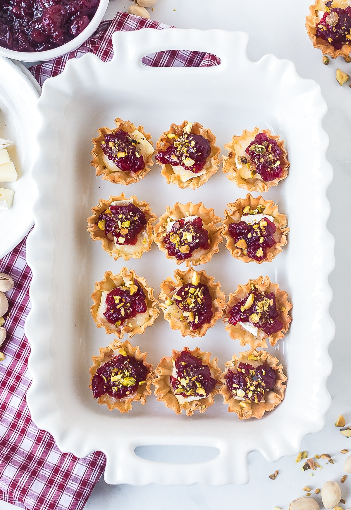 Baked Brie Bites Recipe with Cranberry Sauce #ASpicyPerspective #brie #baked #cranberry