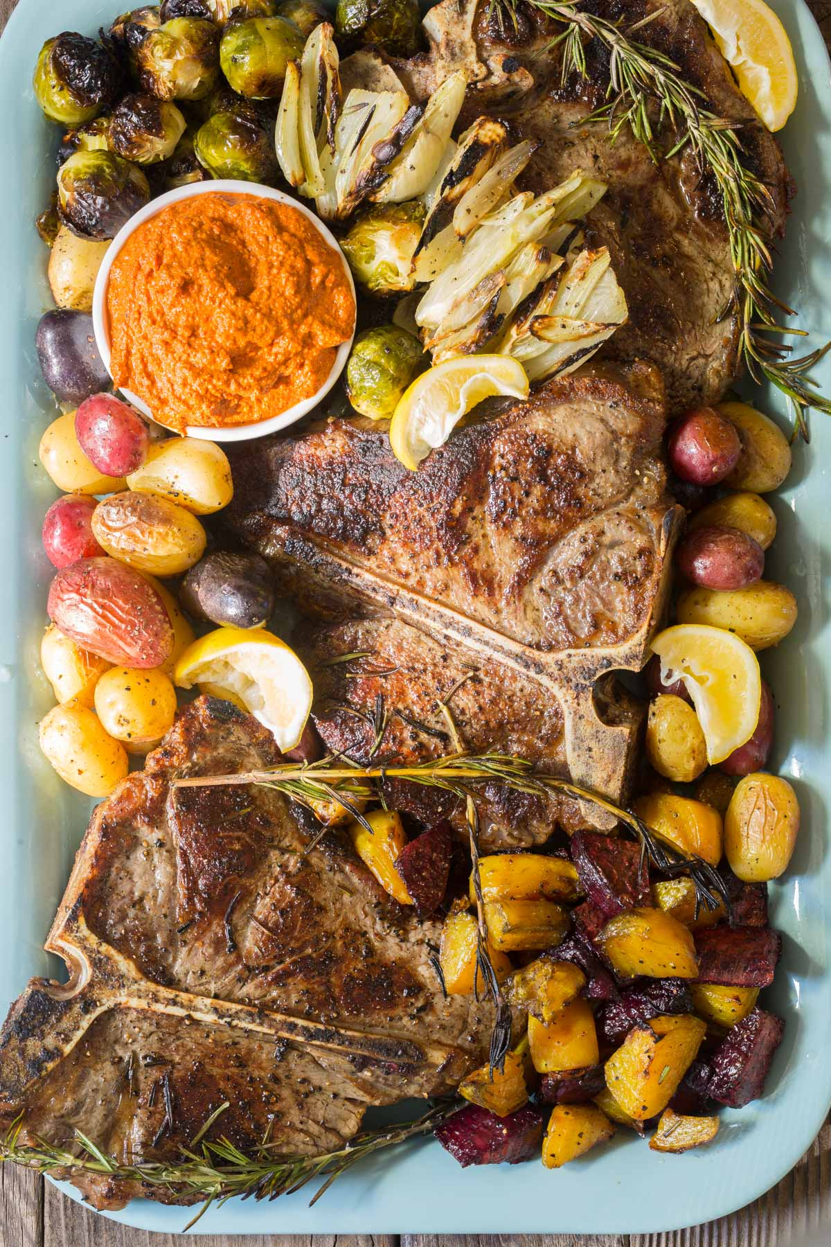 Bistecca alla Fiorentina Recipe (Florentine Steak Platter) with Romesco Sauce #ASpicyPerspective