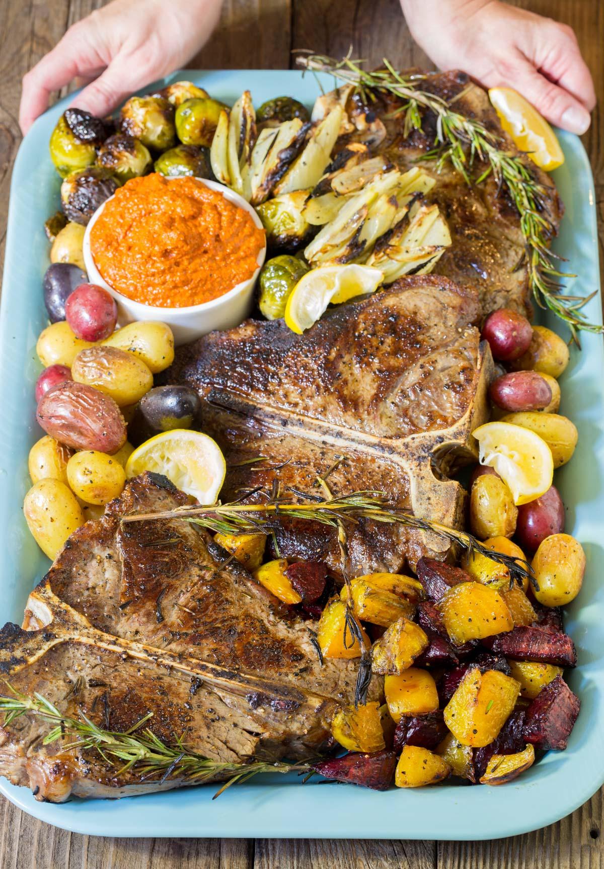 Tuscan Bistecca alla Fiorentina Recipe (Florentine Steak Platter) #ASpicyPerspective