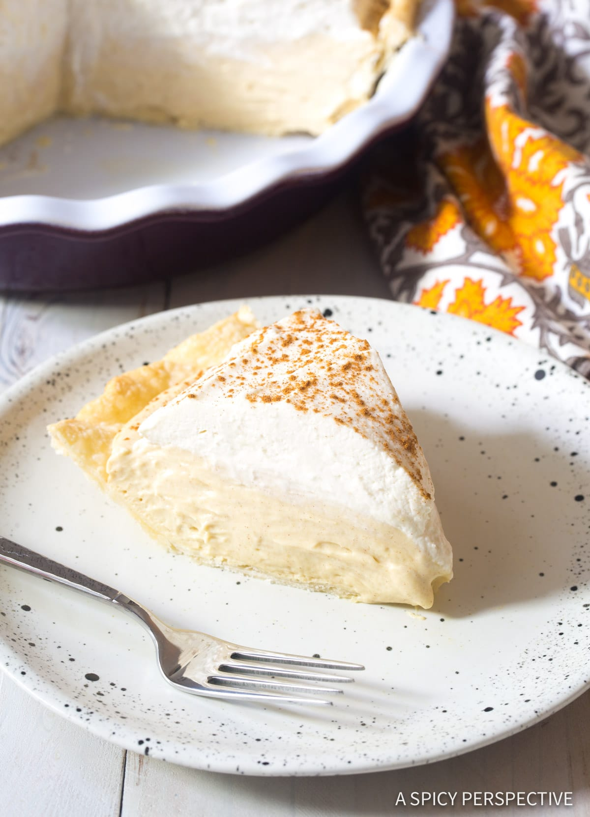 Cinnamon Cream Pie with Brown Sugar Whipped Cream Recipe #ASpicyPerspective #Holiday