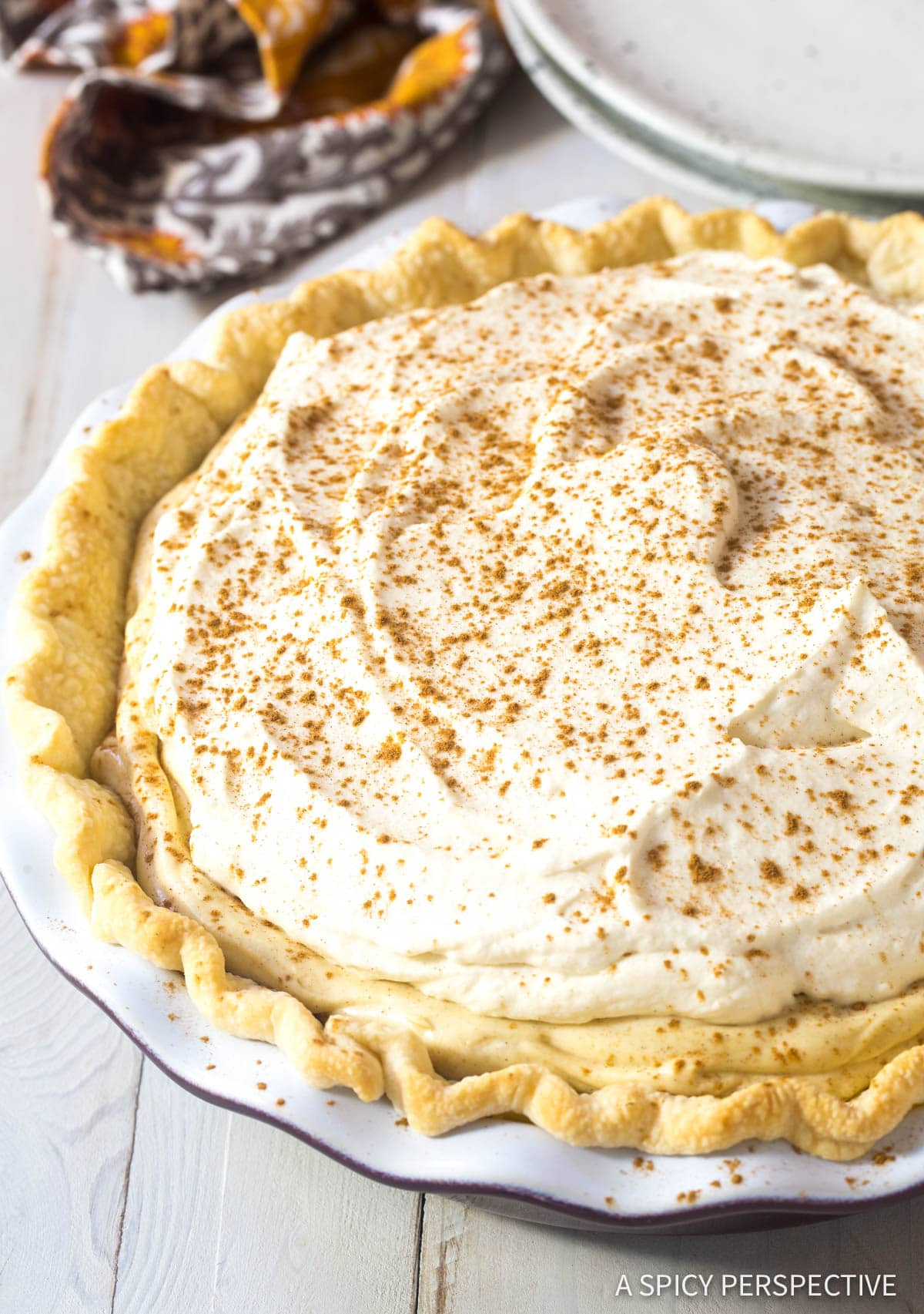 Cinnamon Cream Pie with Brown Sugar Whipped Cream Recipe #ASpicyPerspective #Holiday #Thanksgiving