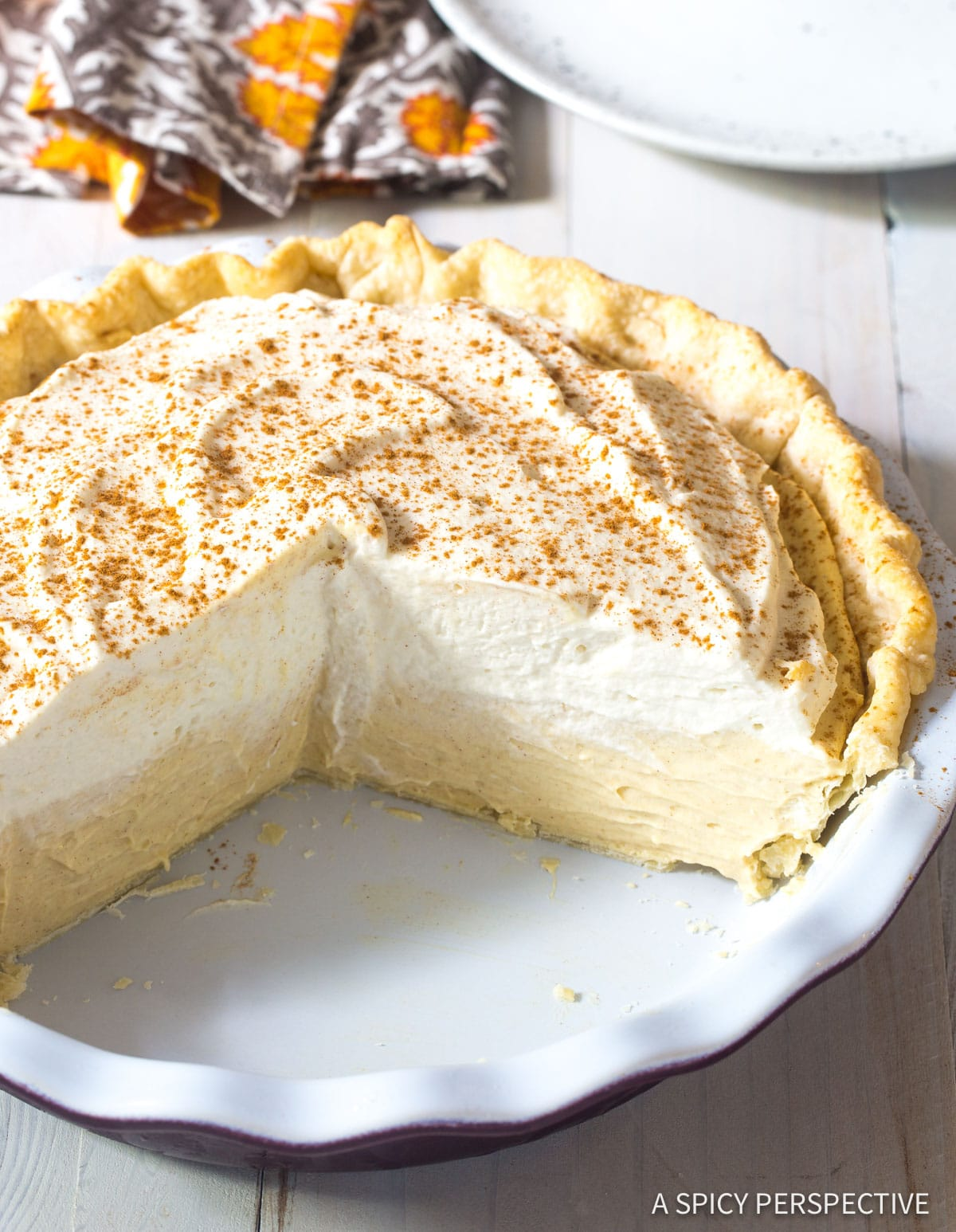 Fluffy Cinnamon Cream Pie with Brown Sugar Whipped Cream Recipe #ASpicyPerspective #Holiday #Thanksgiving