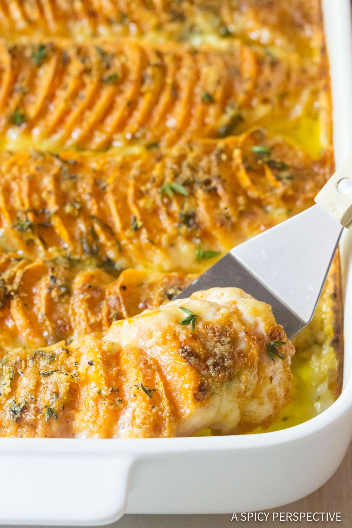 Best Garlic Butter Scalloped Sweet Potatoes Recipe #ASpicyPerspective #Thanksgiving