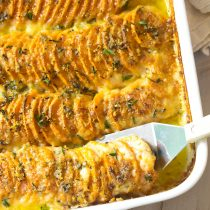 Garlic Butter Scalloped Sweet Potatoes Recipe #ASpicyPerspective #Thanksgiving